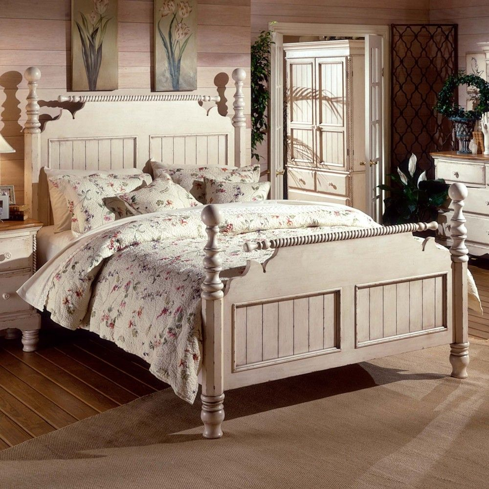 Wilshire Wood Post Bed in Antique White Bedrooms