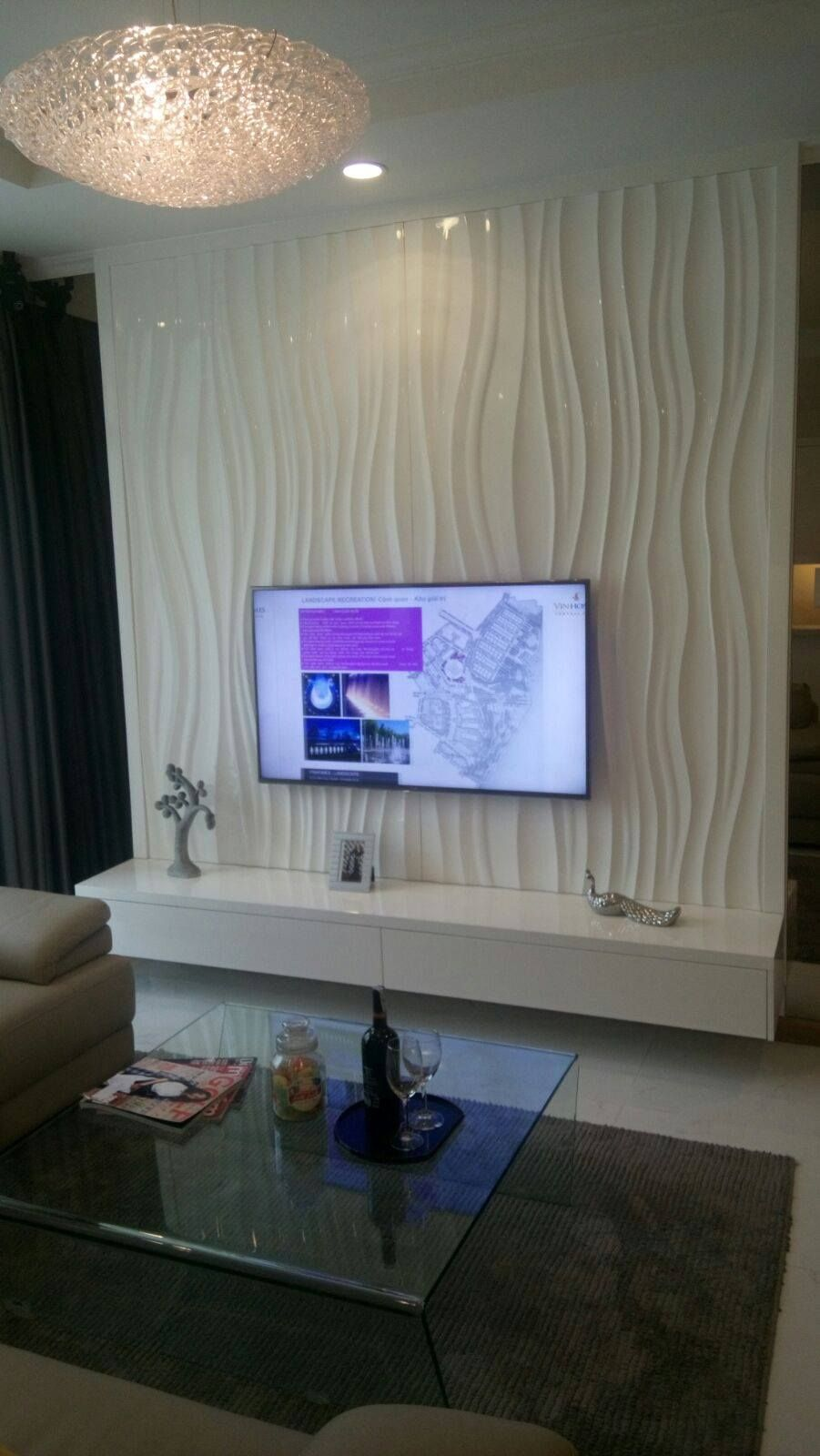 Tv feature wall with wave panel
