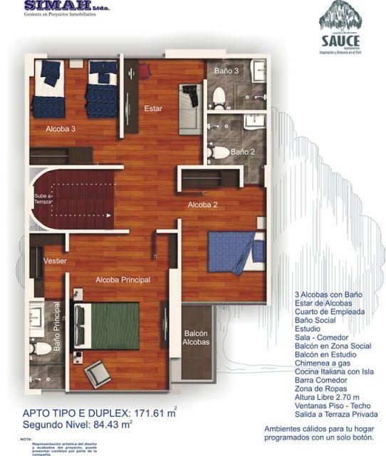 Planos de duplex penthouse con 3 dormitorios planos de for Planos de viviendas de 2 dormitorios