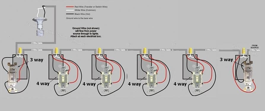 How To Turn A Pump On Or Off From Any Of 12 Switches Home Improvement Stack Exchange Light Switch Wiring Wire Switch 3 Way Switch Wiring