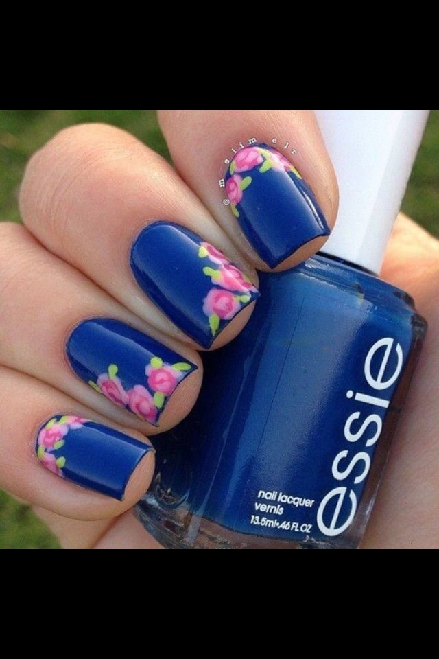 Navy Blue And Pink With Flower Nail Design Simple Nails Toe Nails Flower Nails