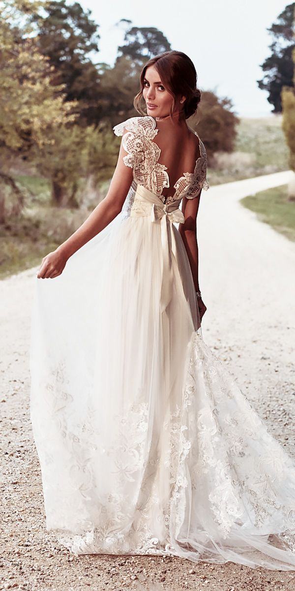straight lace open back with bow vintage inspired wedding