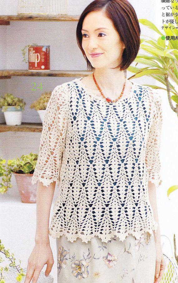 Crochet blusa de verano mujeres patrón PDF - Crochet japones libro ...
