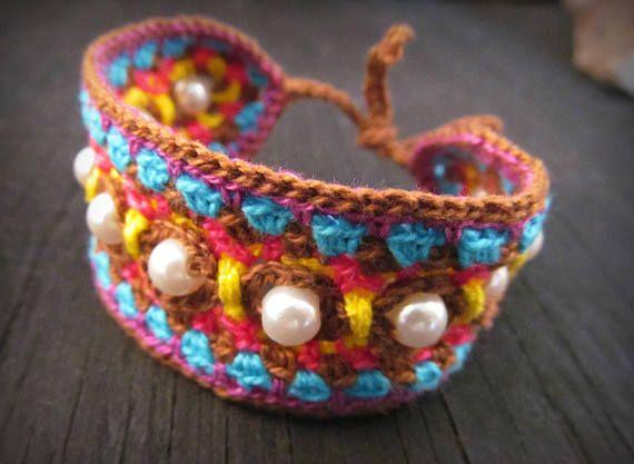 Crochet Jewelry Pattern Crochet Indie Cuff Bracelet Crochet