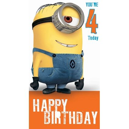 Despicable Me Minion Age 4 Birthday Card Quotes Pinterest