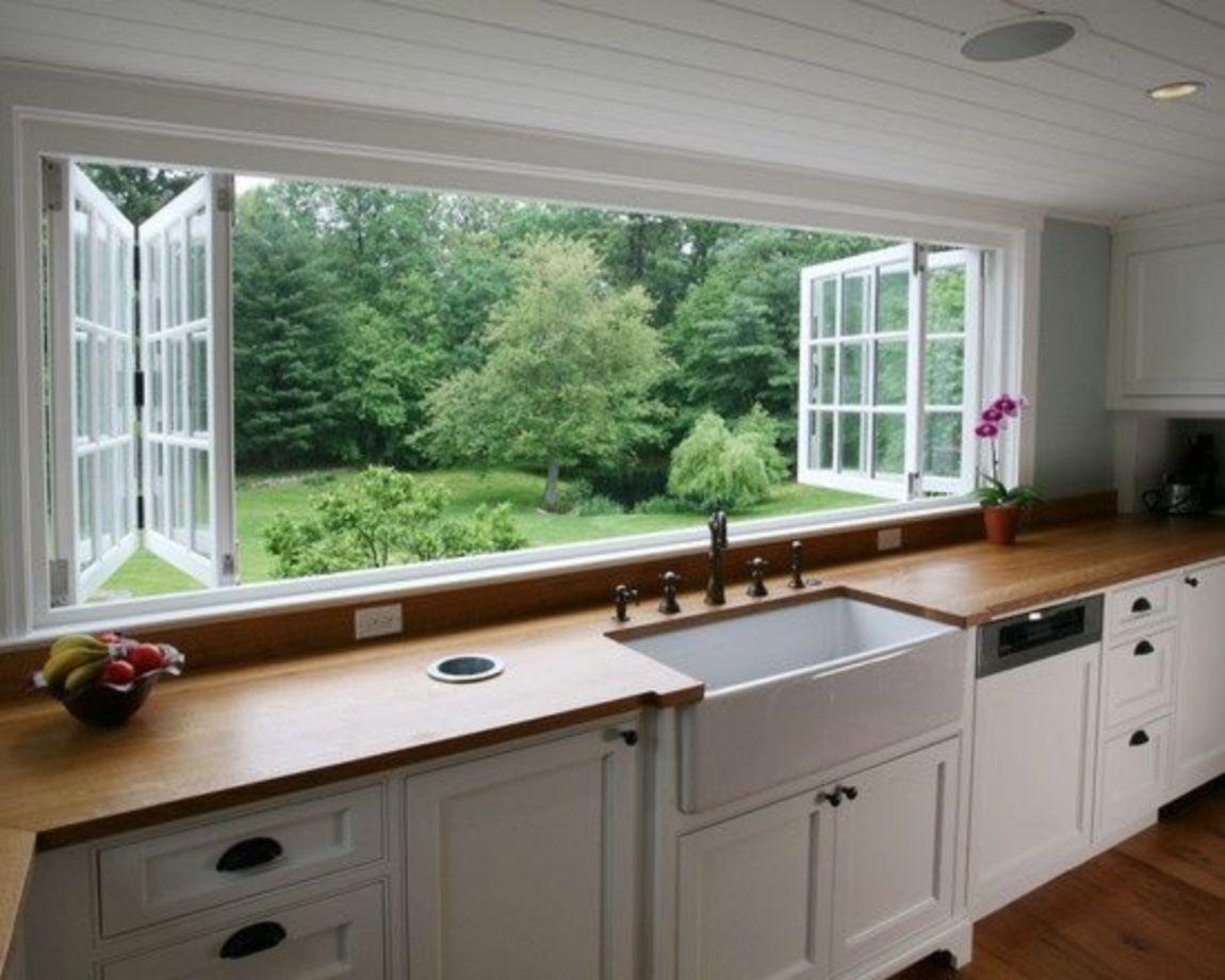 Sliding window over kitchen sink   modern bohemian style kitchen decor ideas  modern bohemian