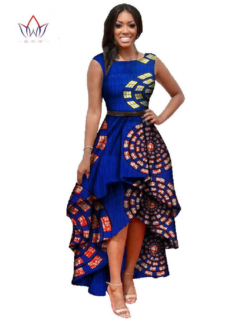 African dashiki ankara dresses with cascading ruffle african maxi