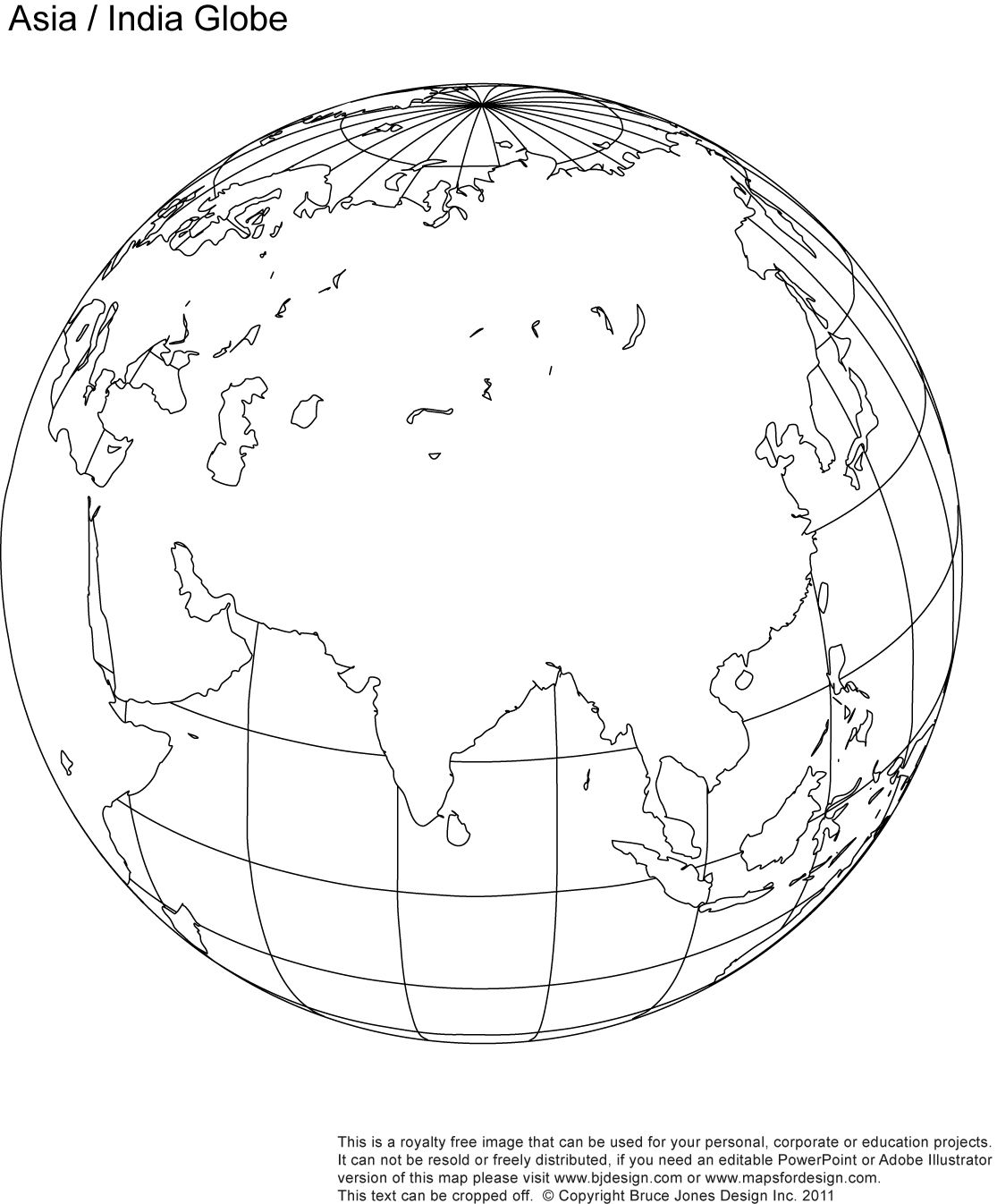 Fill In AsiaIndia Blank Globe Map Classroom Pinterest Asia - India map with latitude and longitude lines