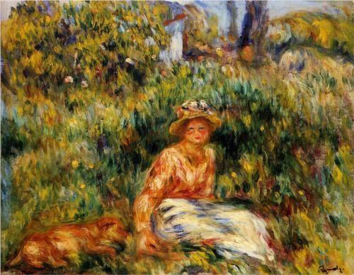 Young Woman in a Garden - Pierre-Auguste Renoir