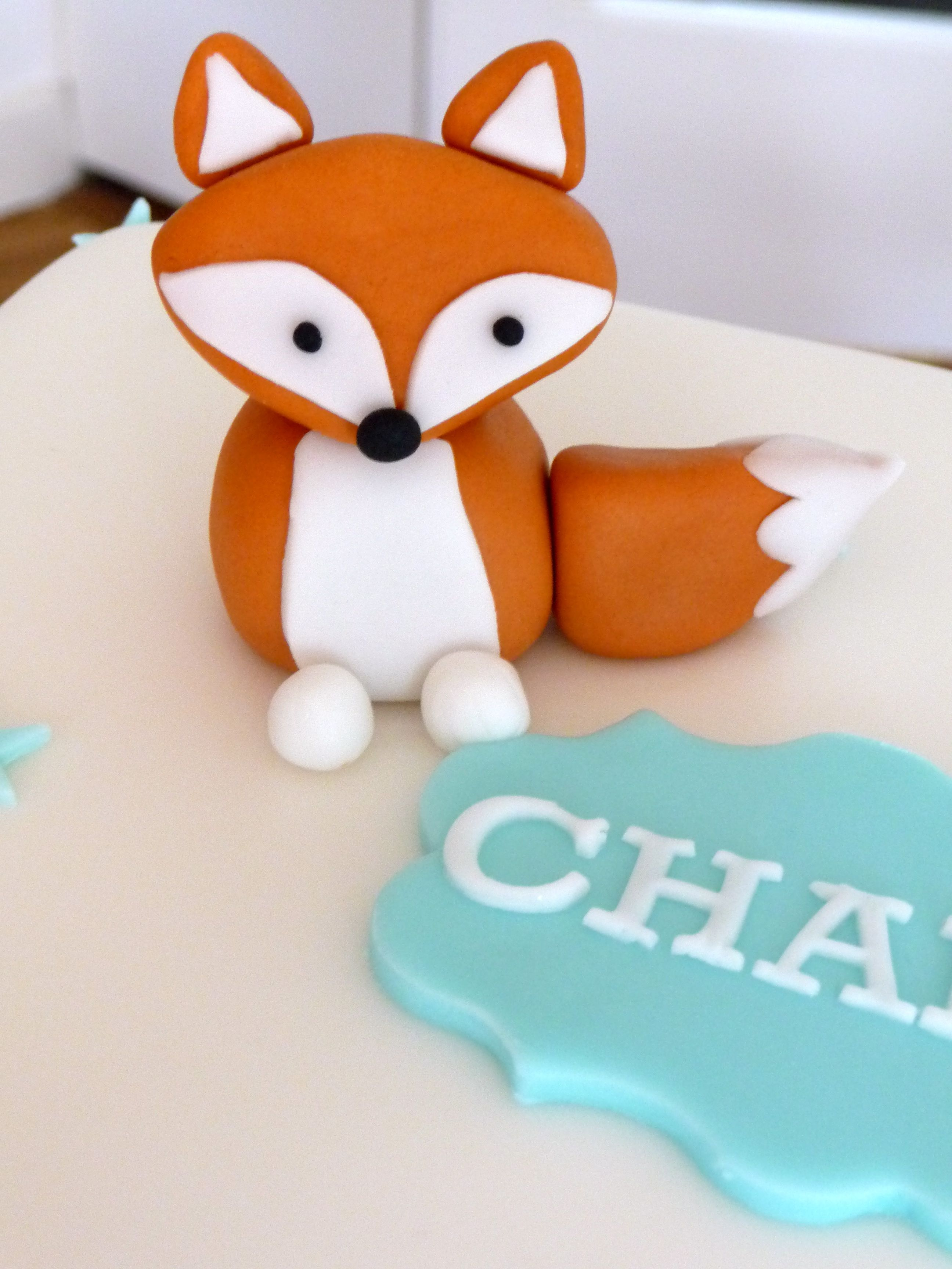 Fondant Fox Cake Topper Baby Shower Fox Cake Cake