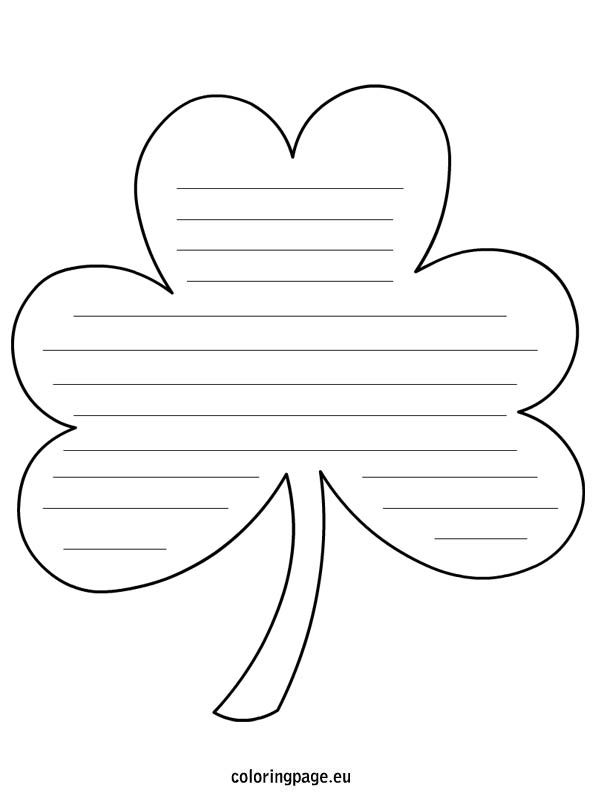 Shamrock Shape with lines March Shamrock template, Writing lines
