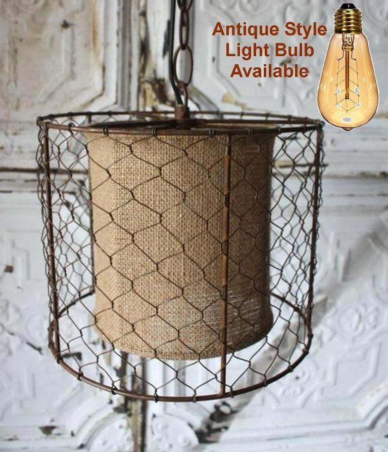 Chicken Wire Burlap Rustic Swag Lamp Plug In or Direct Wire Pendant ...
