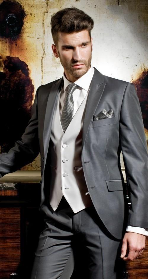 Aliexpress 2016 Italian Men Suits Navy Blue Flat Collar Customized Mens Suit For Wedding Groom Tuxedos Groomsman Jacket Pants Tie Vest From