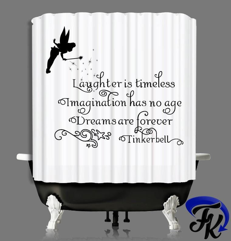 Tinkerbell Laugh Quote Shower Curtain And Liners Modern Bathroom