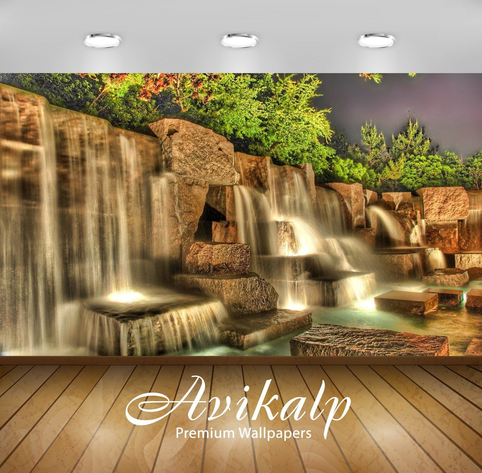 Avikalp Exclusive Awi5107 Artificial Waterfall In A Garden Nature Full Hd Wallpapers For Living Room Water Live Wallpaper Waterfall Wallpaper Landscape Wallpaper