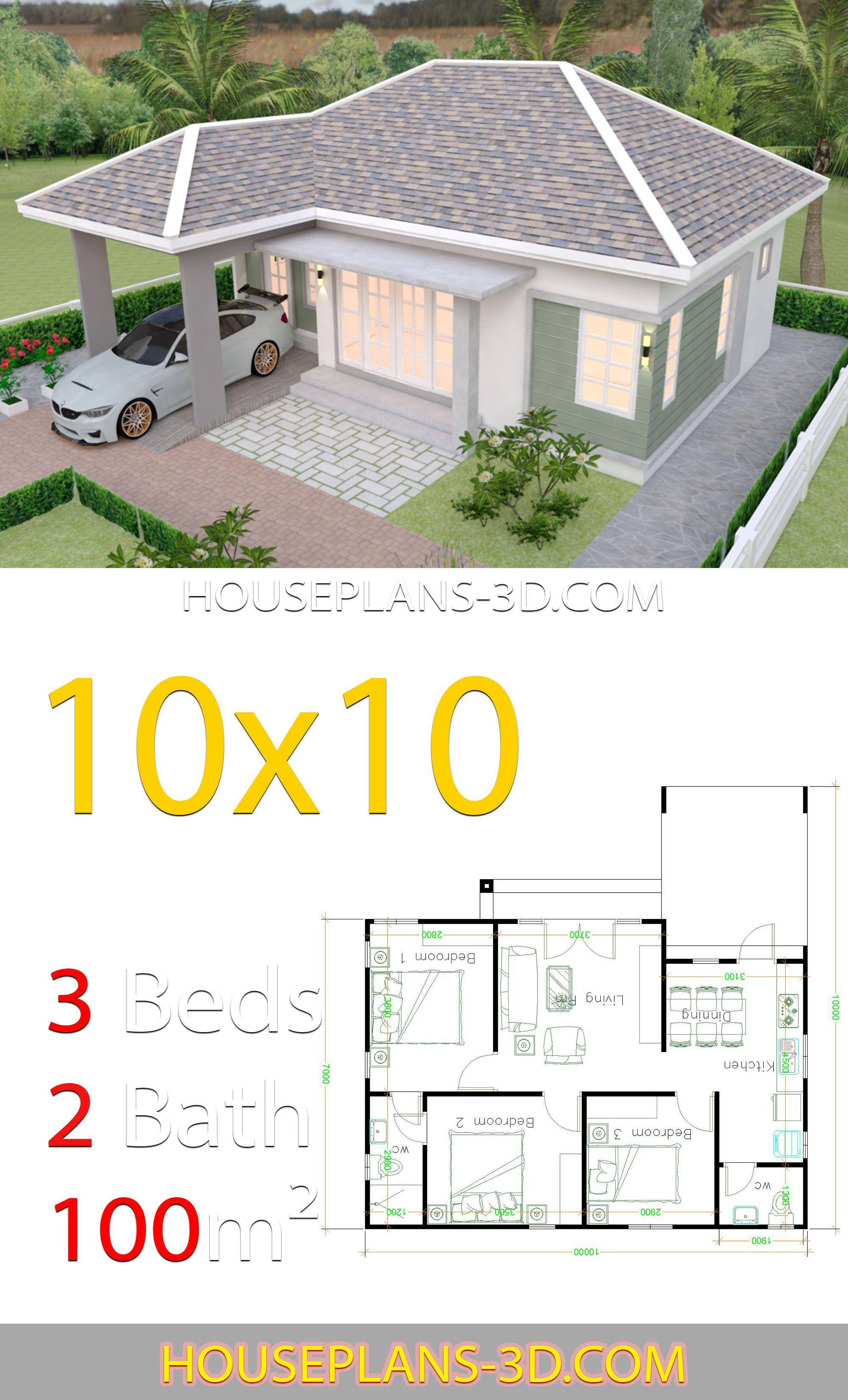 Desain Rumah Autocad 3d : desain, rumah, autocad, House, Design, 10x10, Bedrooms, Plans, Letak, Rumah,, Desain, Rumah, Kecil,, Denah, Kamar, Tidur