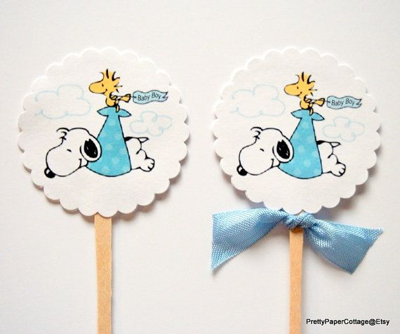 Captivating Snoopy Baby Boy Cupcake Toppers Baby Shower By PrettyPaperCottage