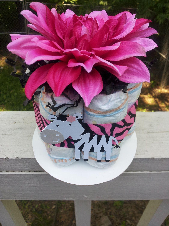 Image detail for -Hot pink ZEBRA mini diaper cake baby shower present decoration