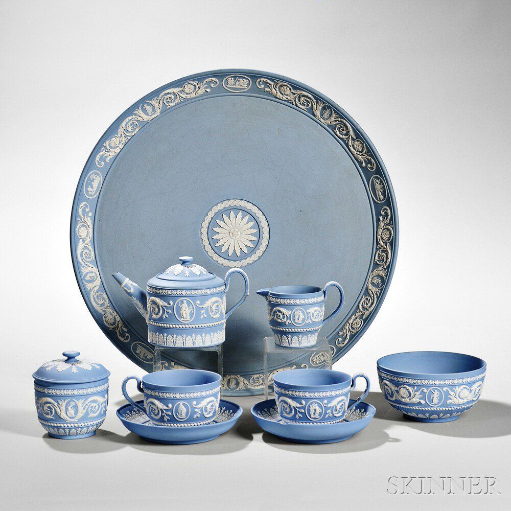 Wedgwood Solid Light Blue Jasper Tea Set with Tray | Sale Number ...
