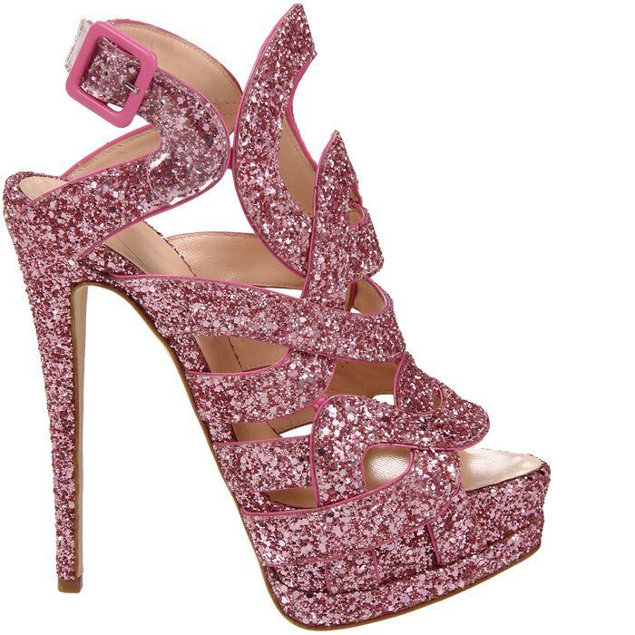 Sparkly pink heels | Glitter sandals