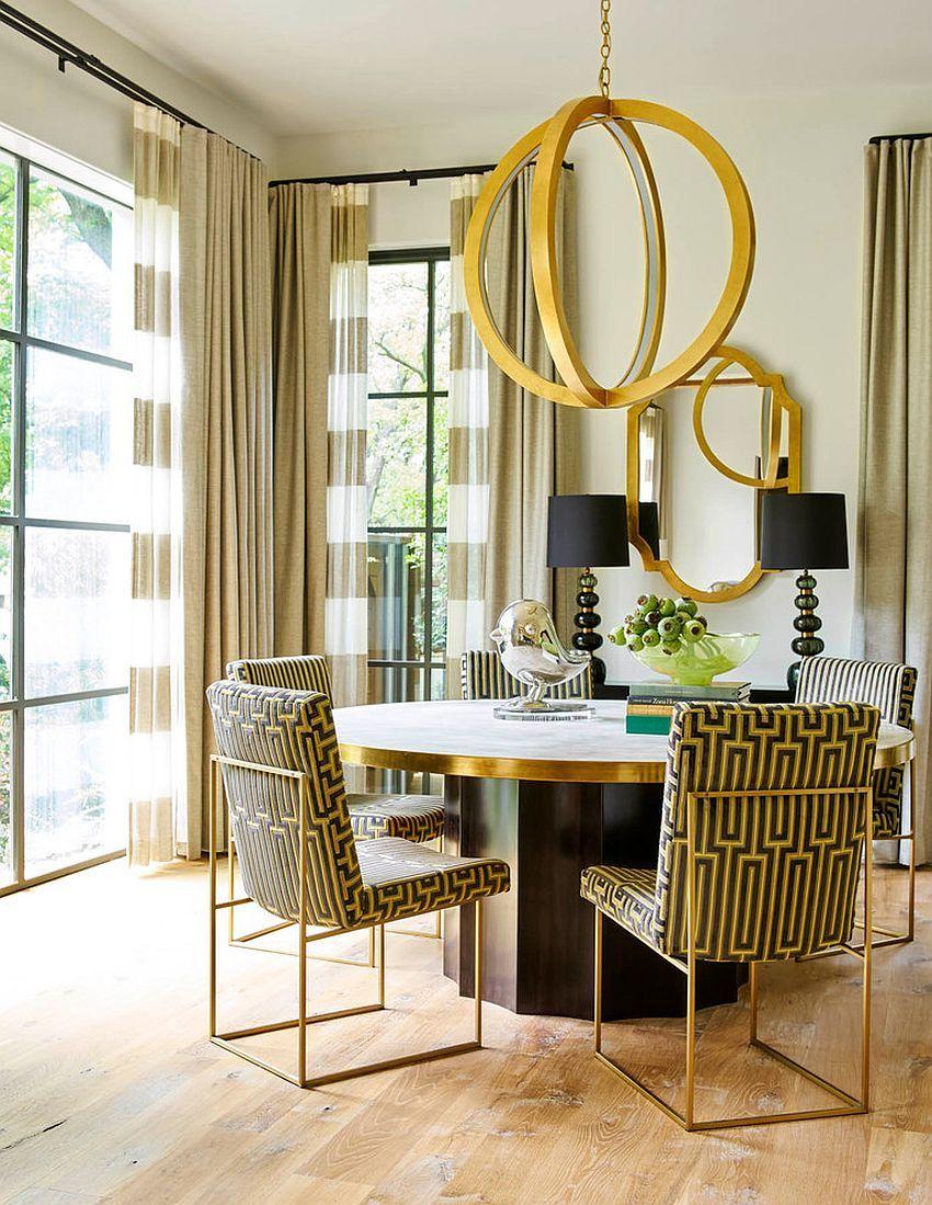 Glam esszimmer dekor glitter und majestic panache esszimmer in einem goldenen glanz