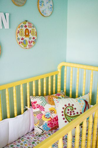 I absolutely love the painted crib in yellow, the wall in teal and ...