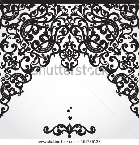 Vector baroque seamless border in Victorian style. Element for design. You can place the text on empty place. It can be used for decorating of invitations, cards, decoration for bags and clothes.