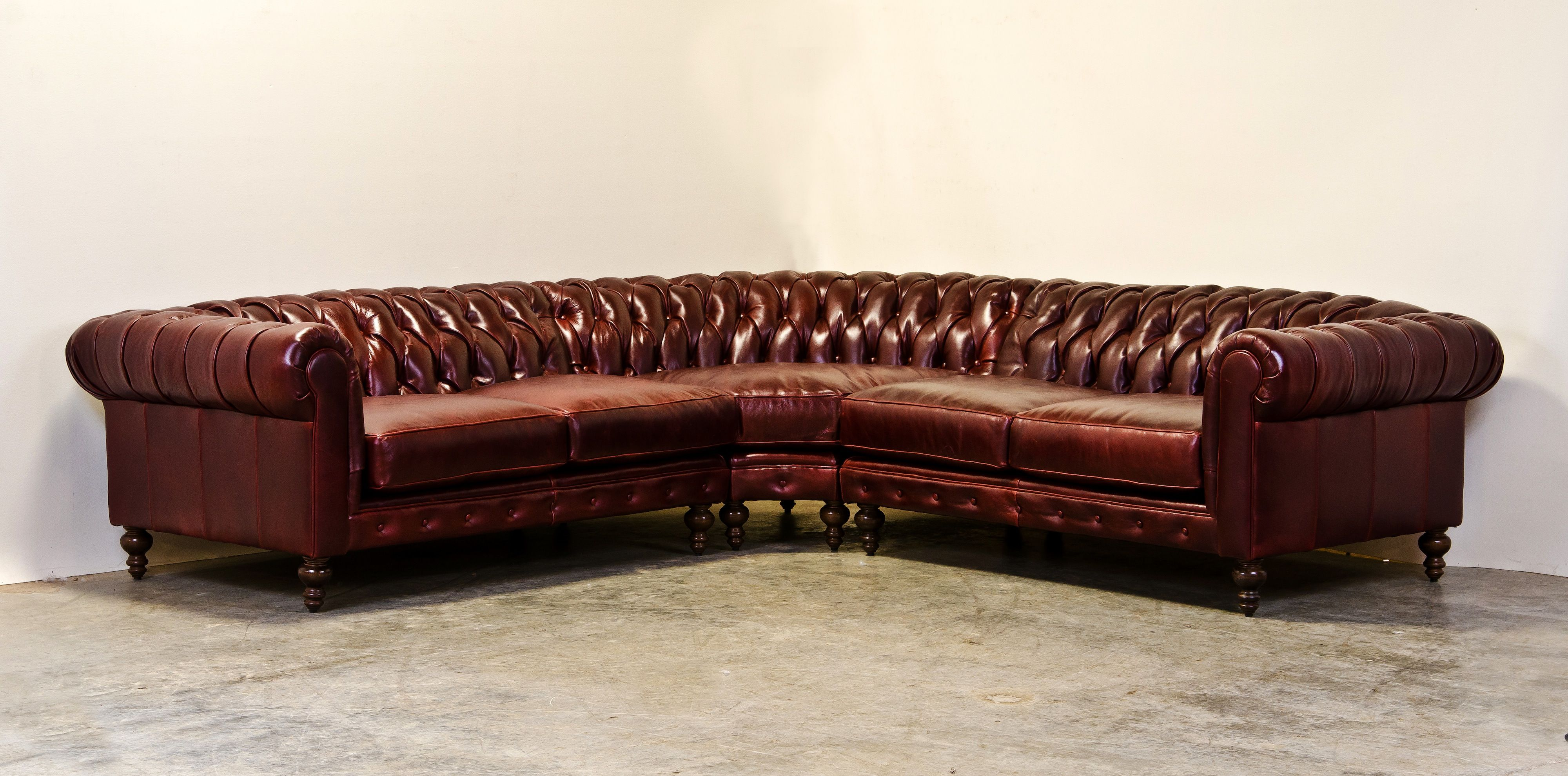 Chesterfield Sectional In Burgundy Leather Comfortable