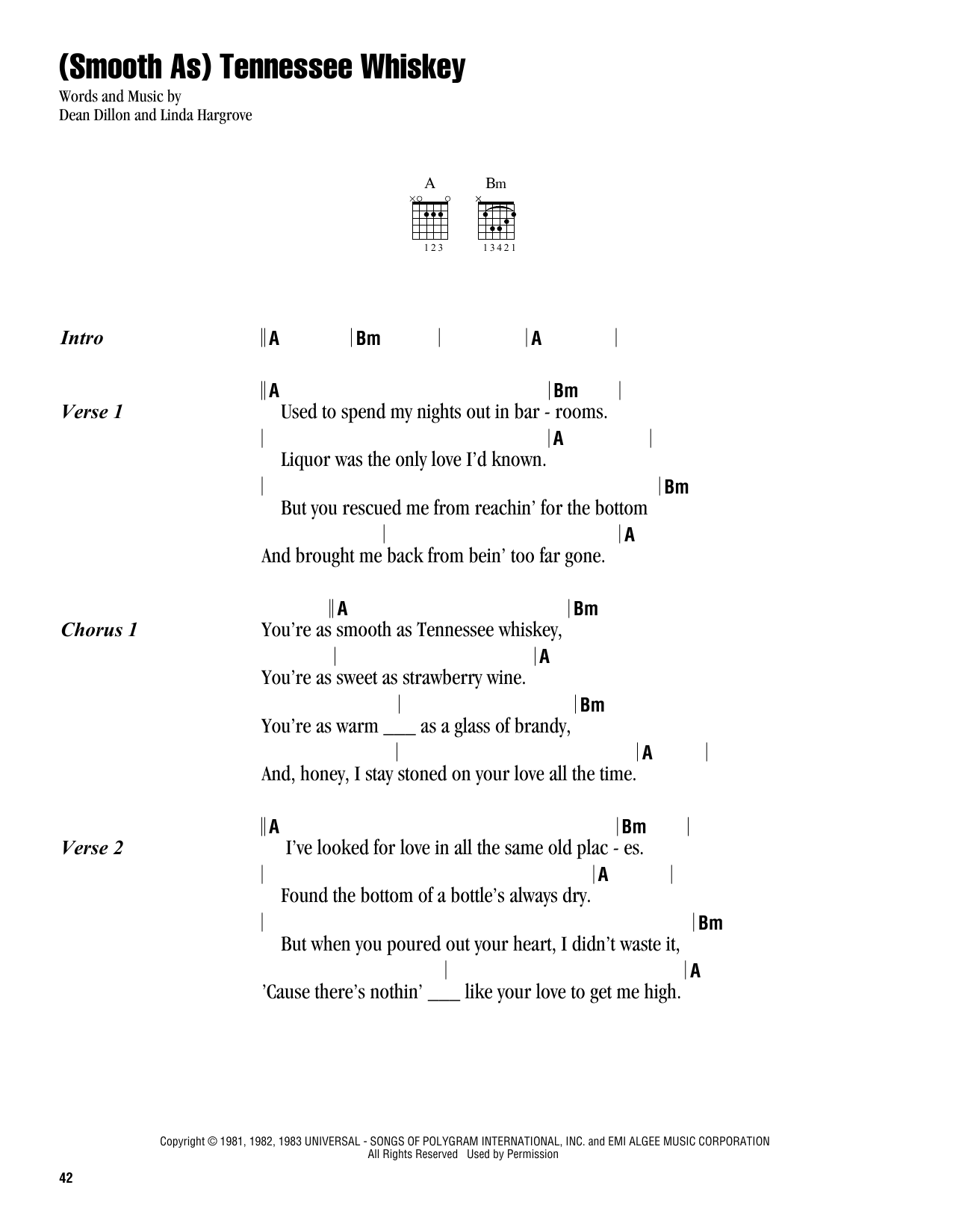 Smooth as tennessee whiskey sheet music ukulele pinterest smooth as tennessee whiskey sheet music hexwebz Images