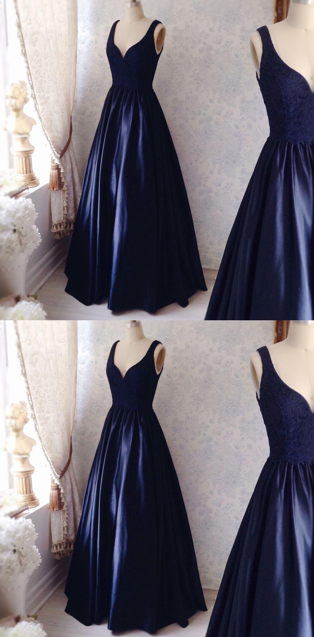 popular dark blue prom dressdeep vneck evening dress