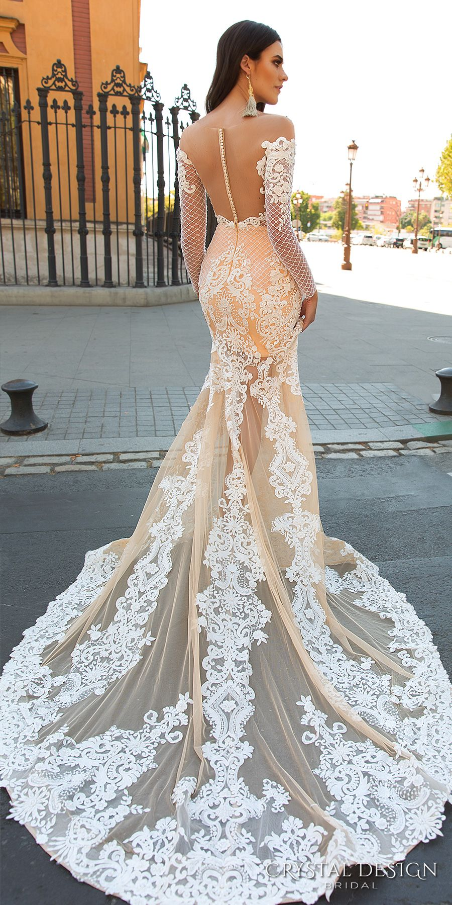 crystal design 2017 bridal long sleeves off the shoulder sweetheart  neckline elegant fit and flare lace wedding dress sheer low back chapel  train (maricol) ... c90fa00cc34b