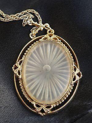 Vintage 1928 Lace Medallion Necklace Victorian Style Carved Glass Sunburst Rays