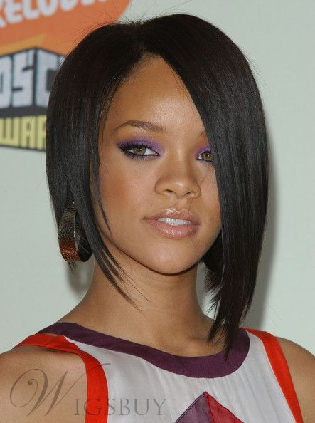 Rihanna Bob Haircut Lace Wig 10 Inches Silky Straight 100% Human Hair Wig 8f4e358835