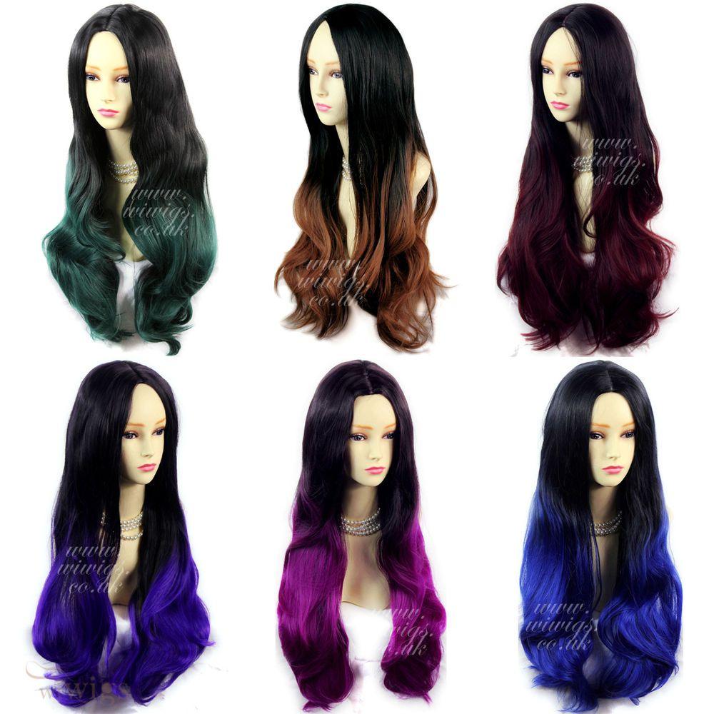 Wiwigs long wavy ombre dip dye ladies wigs black brown red blue long wavy lady wigs black brown red blue purple green dip dye ombre hair wiwigs pmusecretfo Images