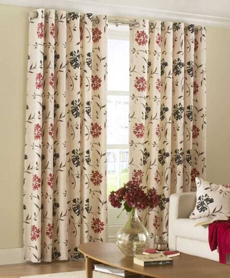 Room · White Floral Curtains Design On Sleek Country Living Room