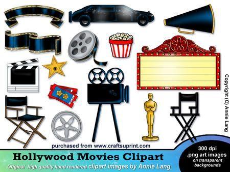 hollywood clip art hollywood movies clipart oscars movienight rh pinterest com hollywood clipart free hollywood clipart border