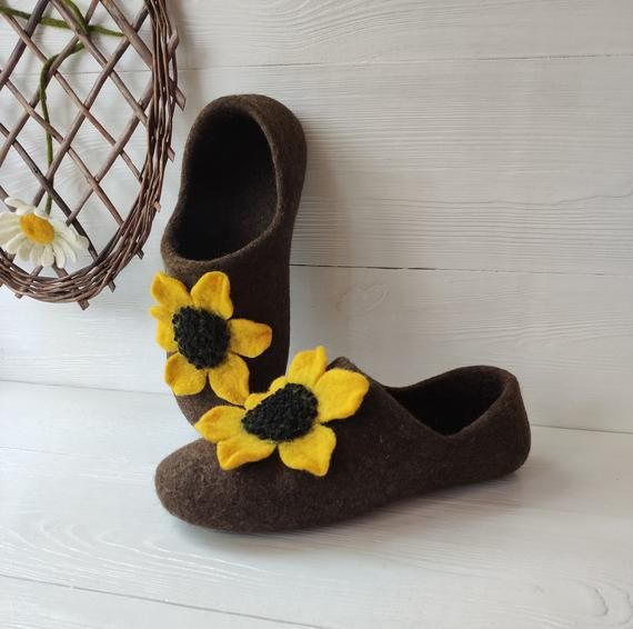 Brown womens felted wool slippers with sunflower, Felt flower house shoes rubber sole, Organic warm