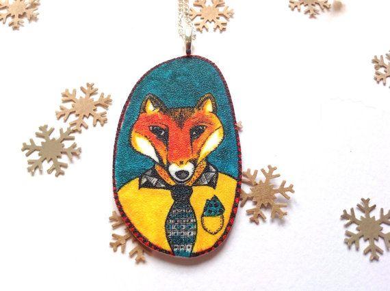 Mr Fox Necklace  Red Riding Hood Fairy Tale by Slumbermonkey