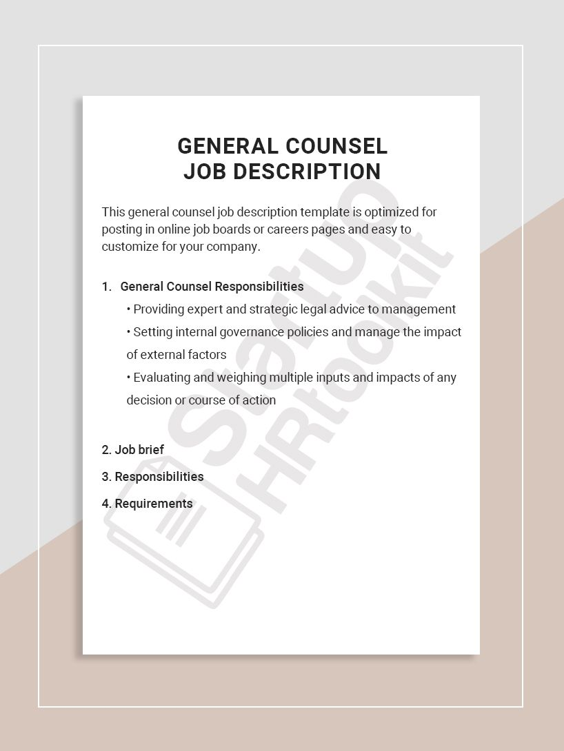 This general counsel job description template is optimized