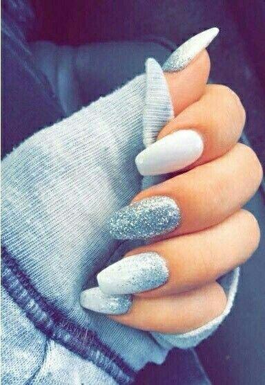 Light Blue Acrylic Nails Design Silver Glitter