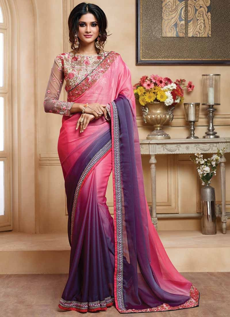 Sari wedding dress  Pink And Purple Two Tone Double Shaded Faux Chiffon Saree  Saree