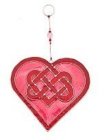 Celtic Knot Heart Glass Suncatchers in Red & Purple or Red & Pink. Brand New  Visit...The Ginger Sheep....£5.99
