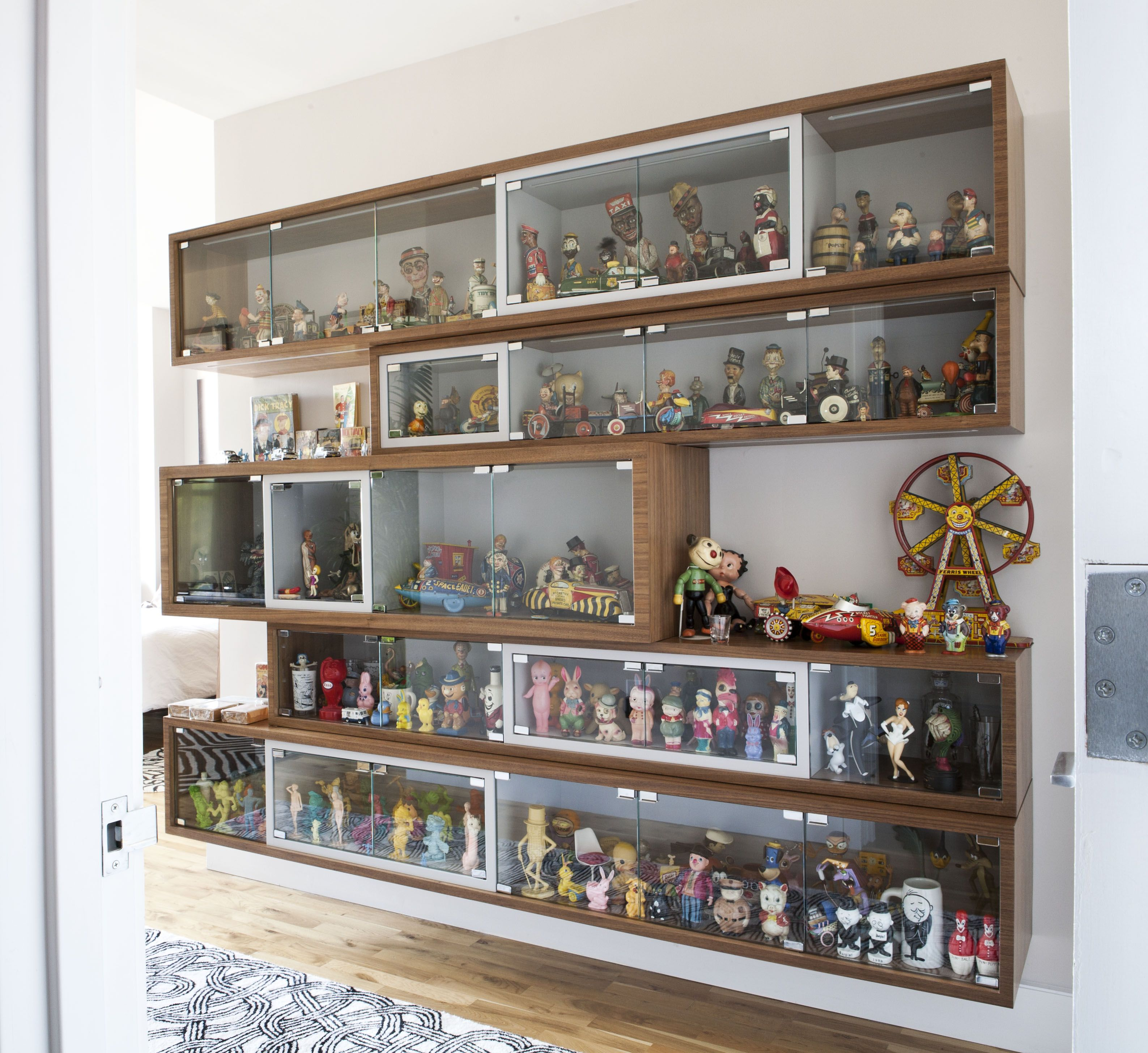 Collector s Wall mounted Shelving Unit Glass Enclosure Lights