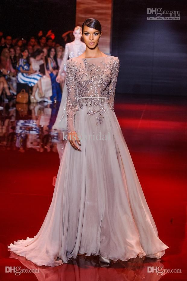 c60de8cb12a Wholesale 2014 Distinctive Appliqued And Beaded Decorated Elie Saab Prom  Dresses Bateau Sheer Long Sleeve A-Line Floor-Length Chiffon Evening Gowns