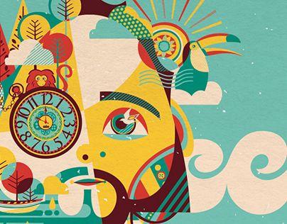 Ilustrações criadas para o álbum Céu, de Milton Neto. Com a temática de natureza e brasilidade, a identidade do álbum parte da ideia de fusão do cantor com as suas músicas: na capa diferentes elementos que estão nas suas canções se misturam com o rosto do…