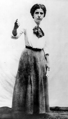Elizabeth Gurley Flynn (1890 – 1964) was a labor leader, activist, and feminist who played a leading role in the Industrial Workers of the World (IWW). Flynn was a founding member of the American Civil Liberties Union and a visible proponent of women's rights, birth control, and women's suffrage.