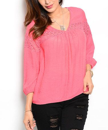 Look at this #zulilyfind! Pink Lace-Accent Peasant Top #zulilyfinds