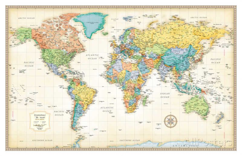 Rand mcnally classic world map art prints and prints rand mcnally classic world map giant postersmap gumiabroncs Gallery
