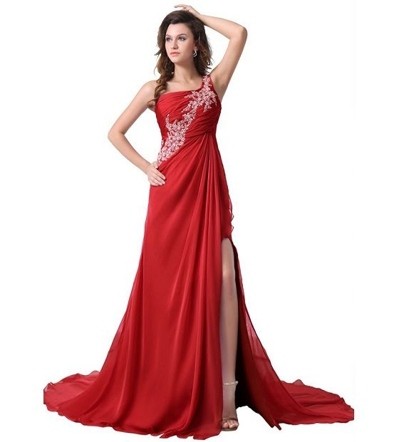 One shoulder long red plus size prom dresses under 200 | Prom ...