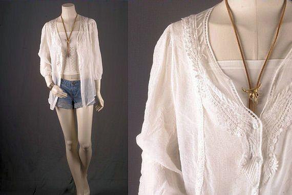 White lace blouse top jacket tunic boho Bohemian by sparrowlyn, $52.00